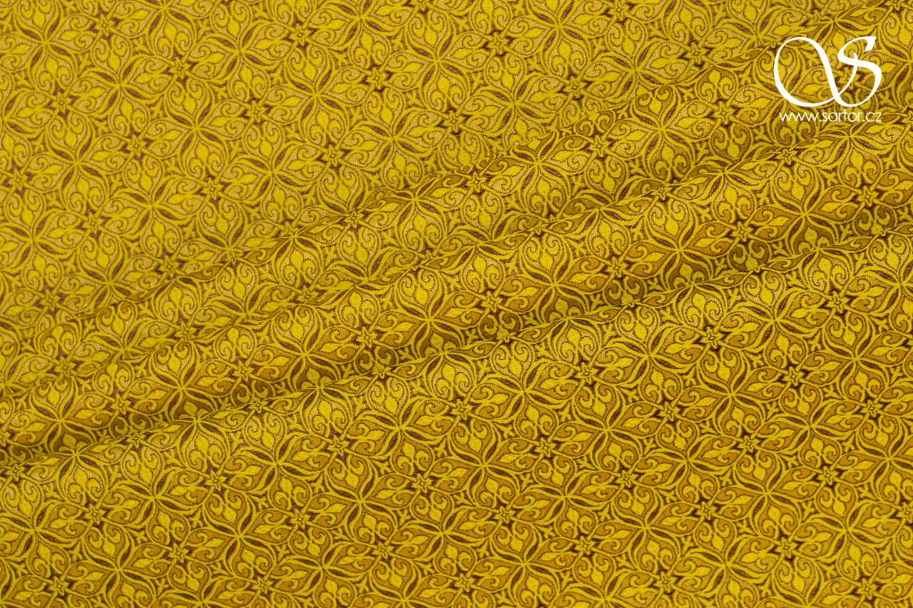 Noble Brocade, Yellow and Brown