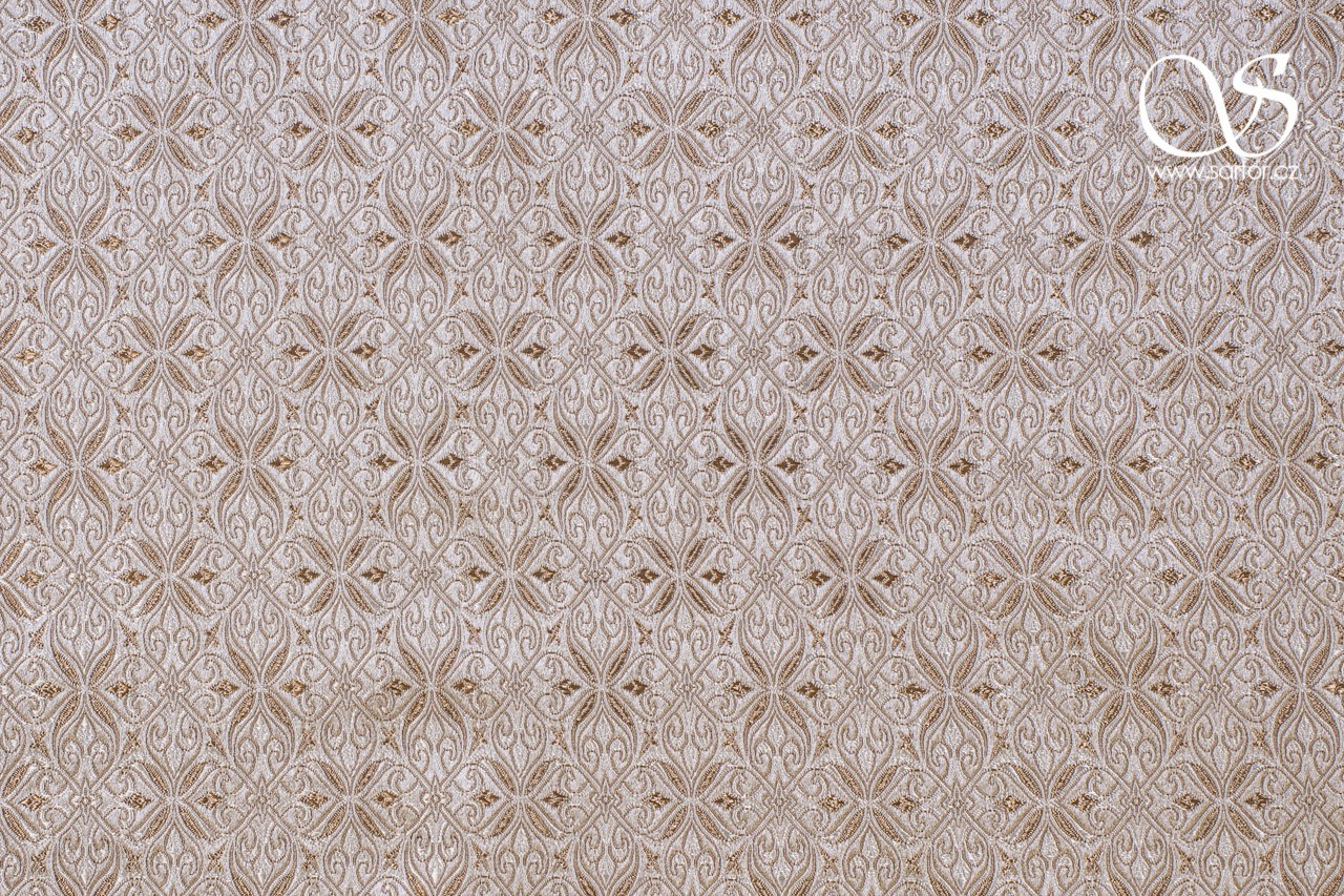 Noble Brocade, White and Beige