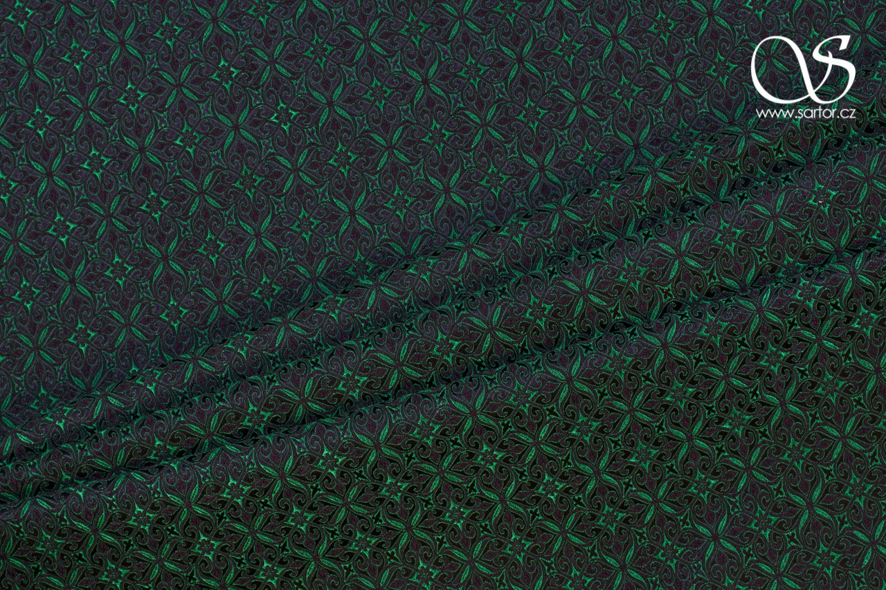 Noble Brocade, Black and Green
