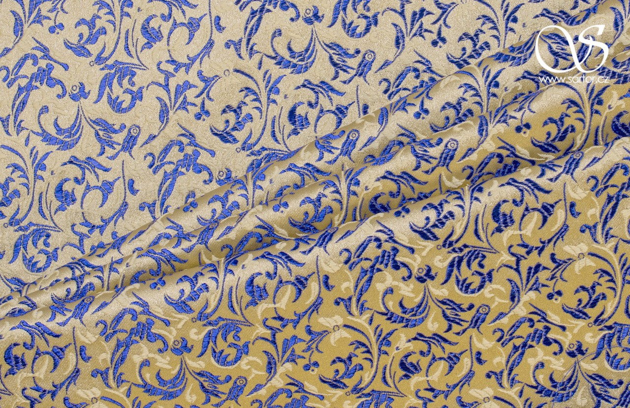 Brocade Ornaments, Gold And Royal Blue