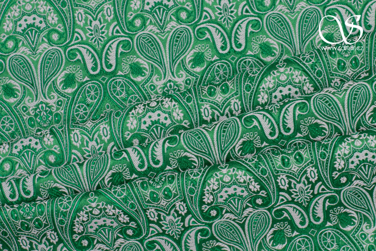 Brocade of the Duke, Green and White