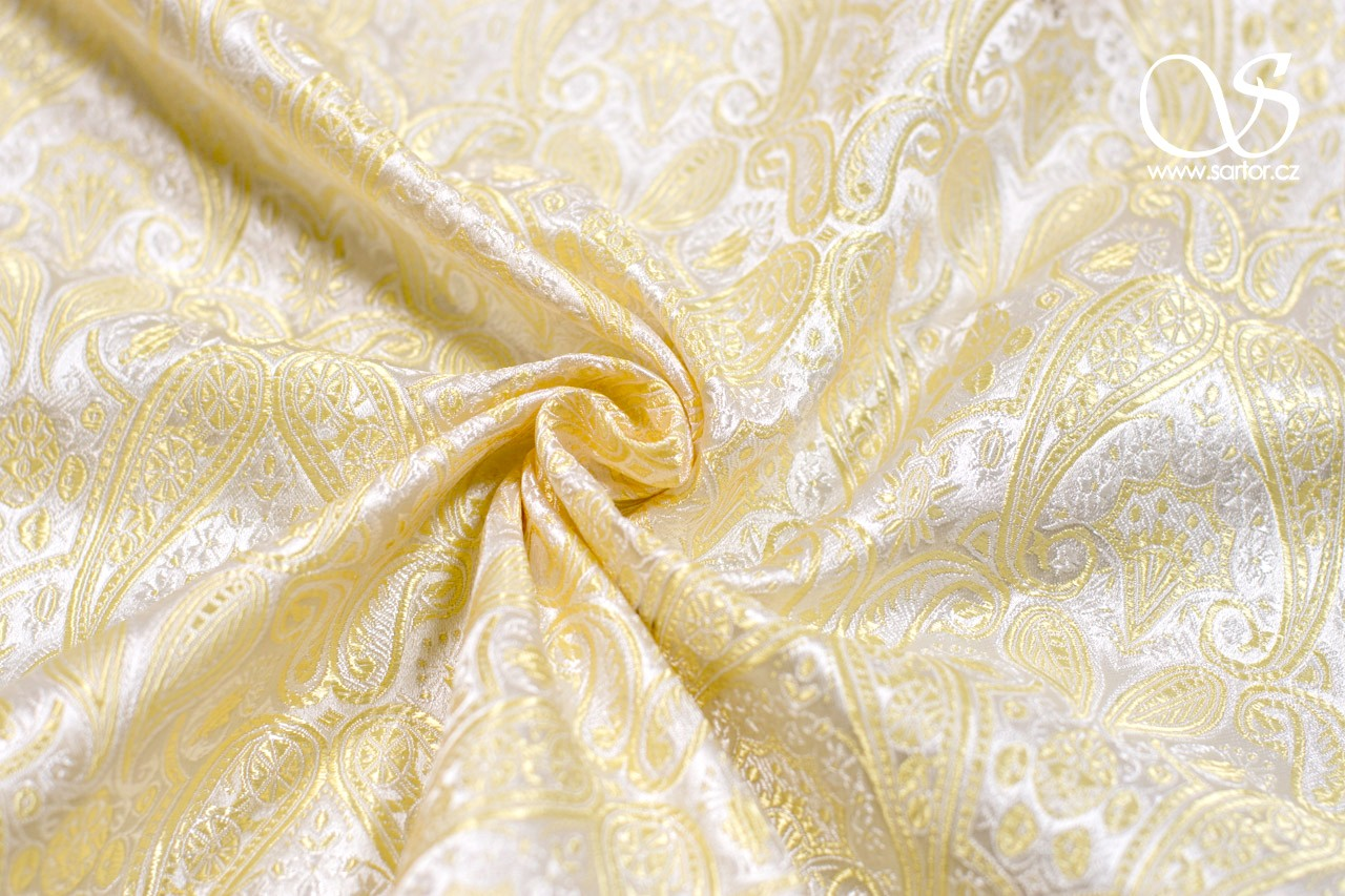 Brocade of the Duke, White and Gold