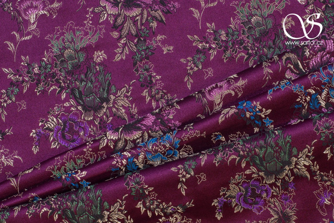 Brocade Bouquet, Wine Red