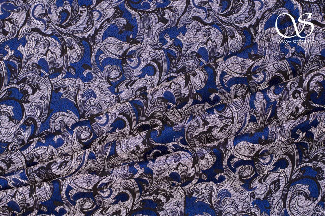 Brocade William, Blue and Silver