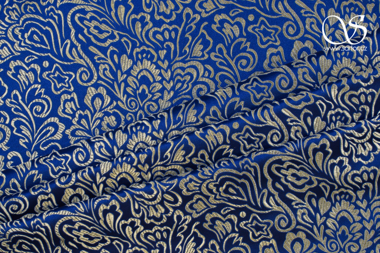 Brocade Fern, Royal Blue and Gold