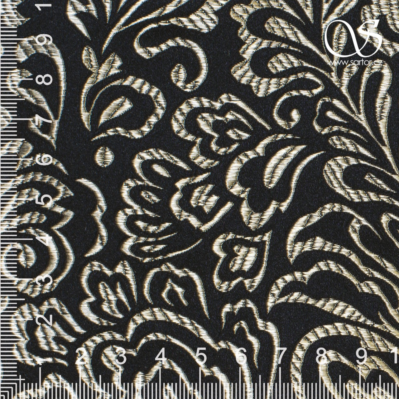 Brocade Fern, Black and Gold