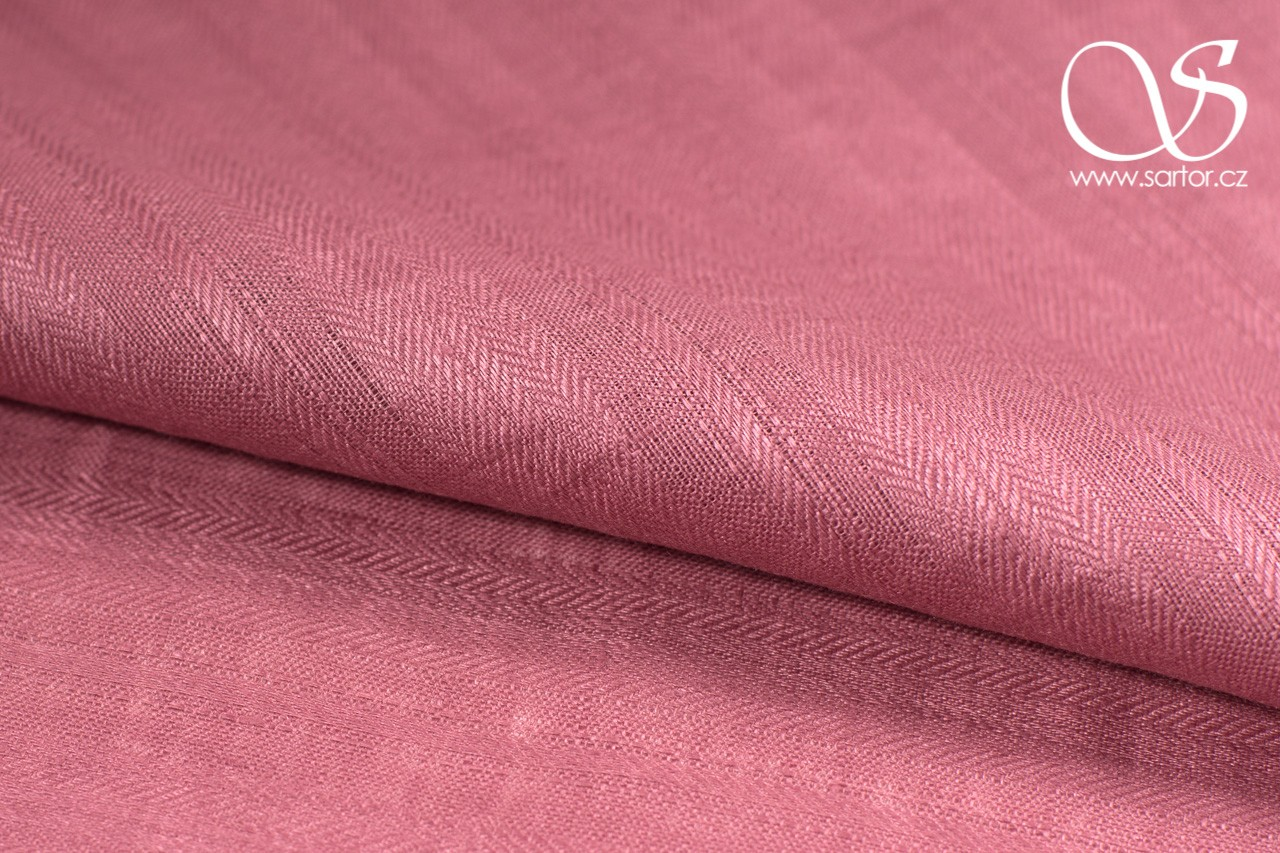 Striped Twill Linen, Dark Pink