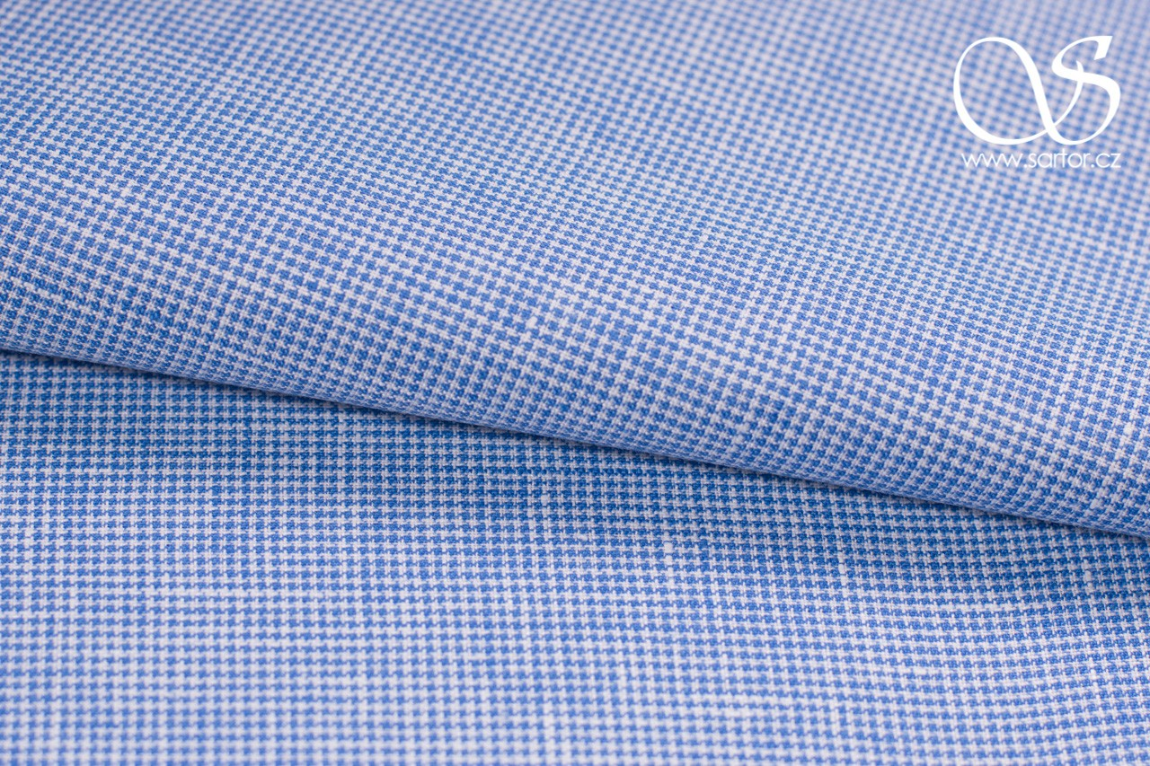 Fine Linen Houndstooth, Light Blue and White