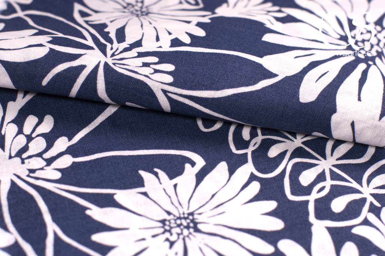 Fine Linen with Cotton Daisy, White and Blue