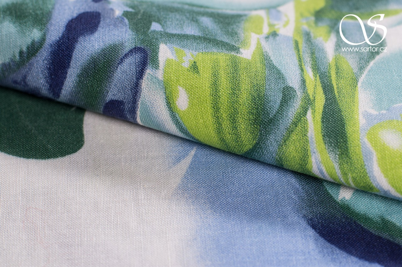 Linen with Cotton, Peony, Green and Blue