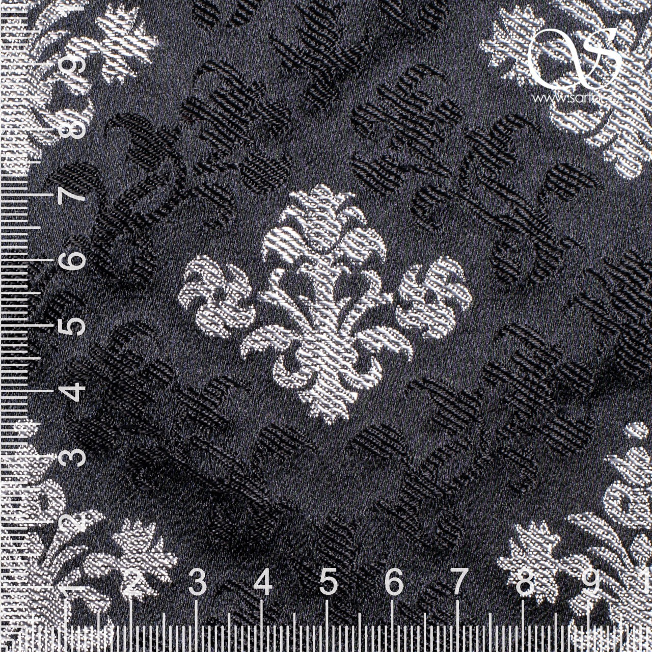 Floral Renaissance Brocade, Black and Silver