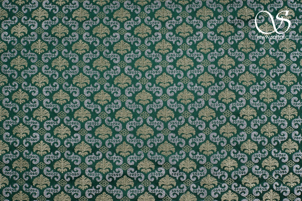Renaissance Brocade with Palmettes, Green with Silver and Gold
