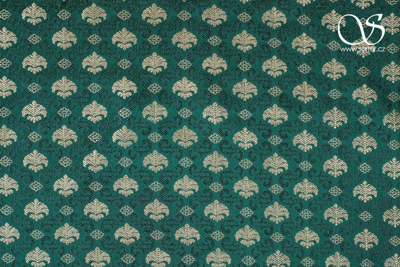 Renaissance Brocade with Palmettes, Green and Gold