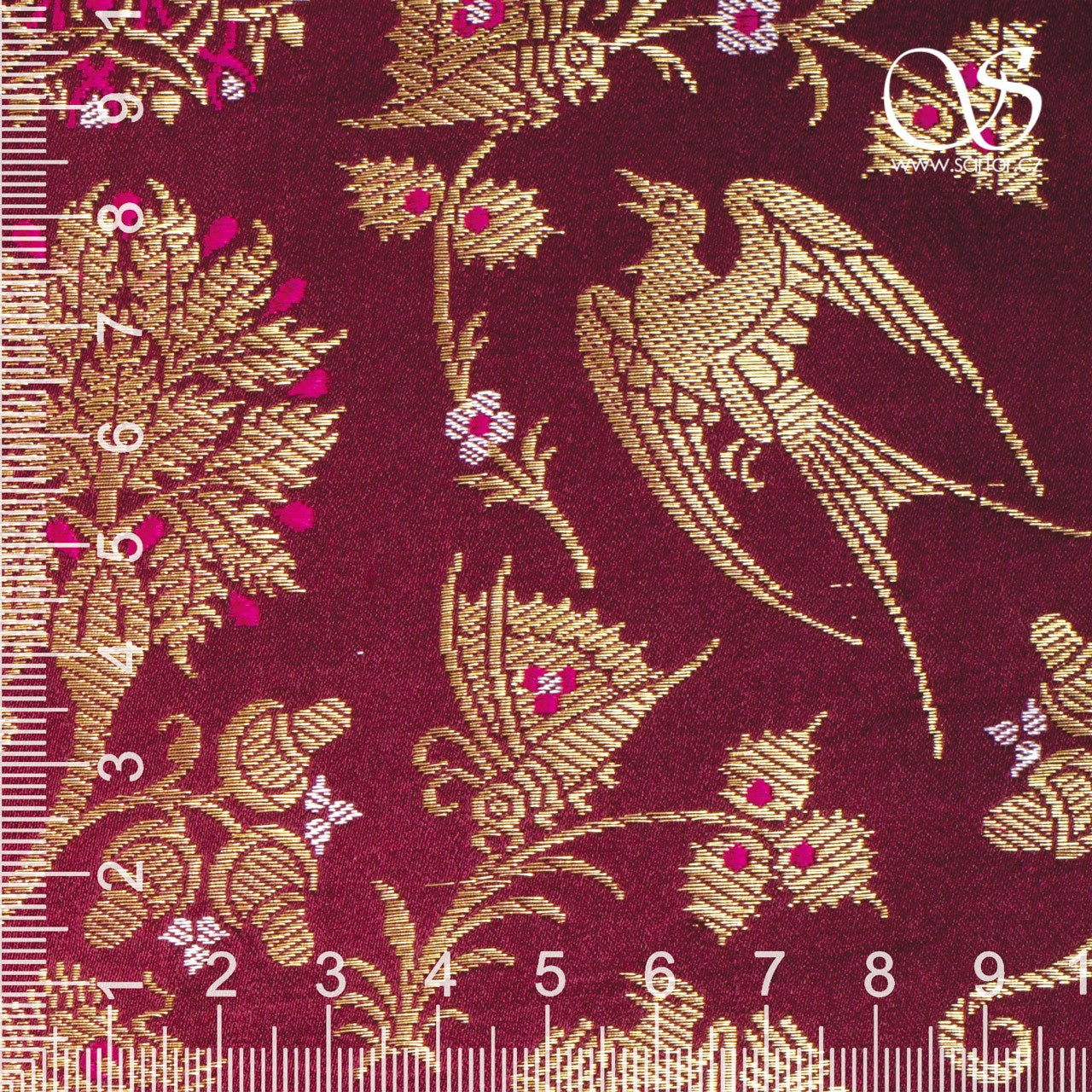 Swallows and Radiant Clouds Brocade, Wine Red