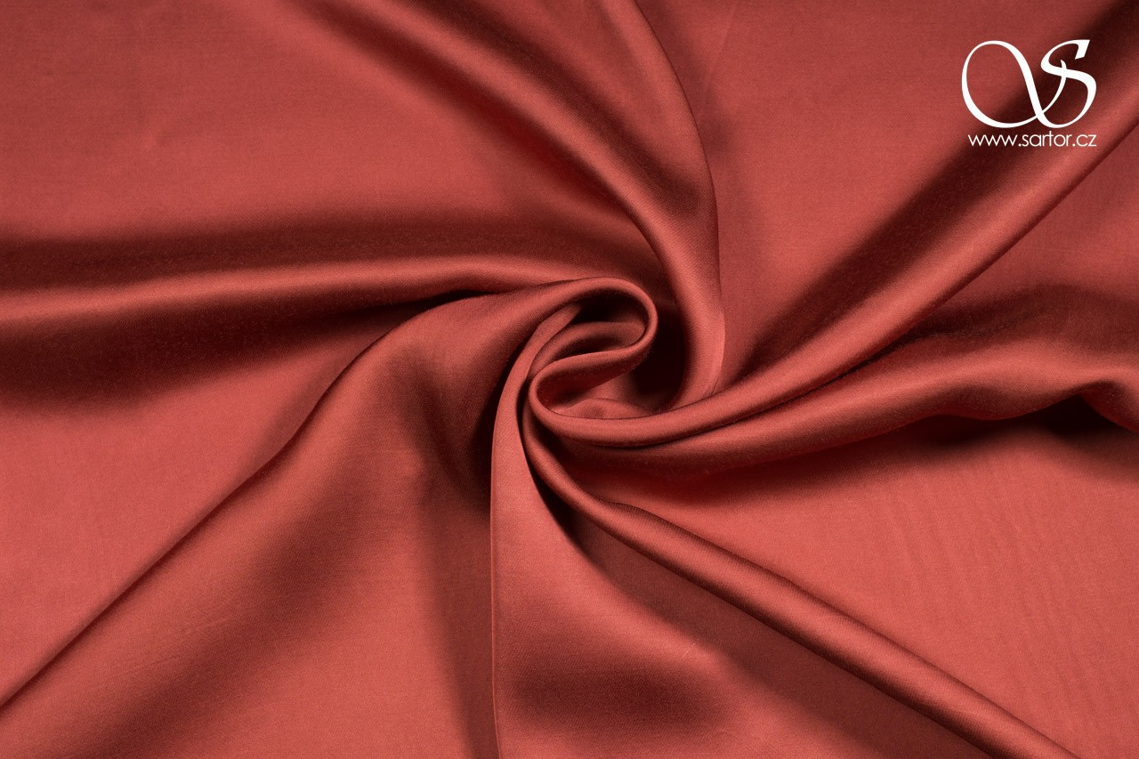 Rayon Satin, Brick Red