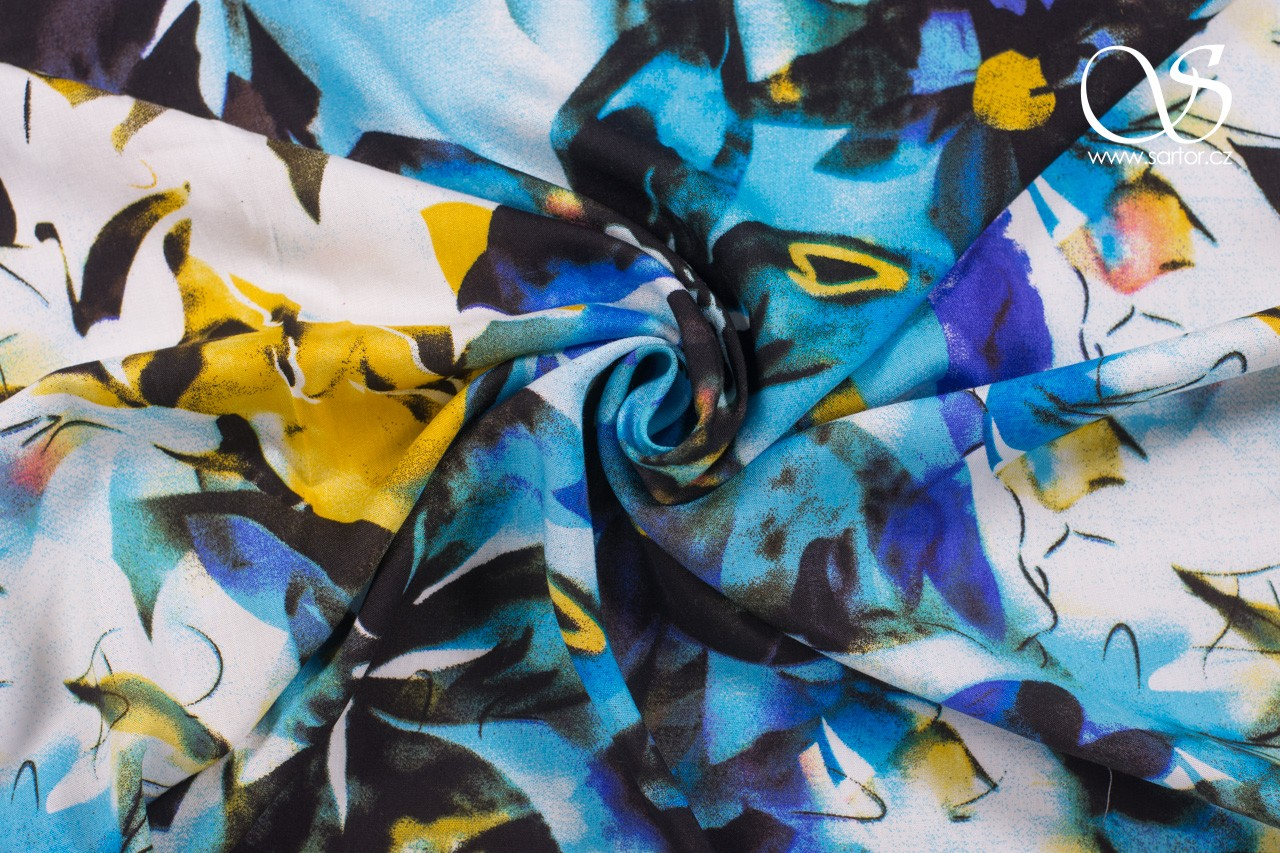 Rayon Batiste, Tropical Flowers, Colourful