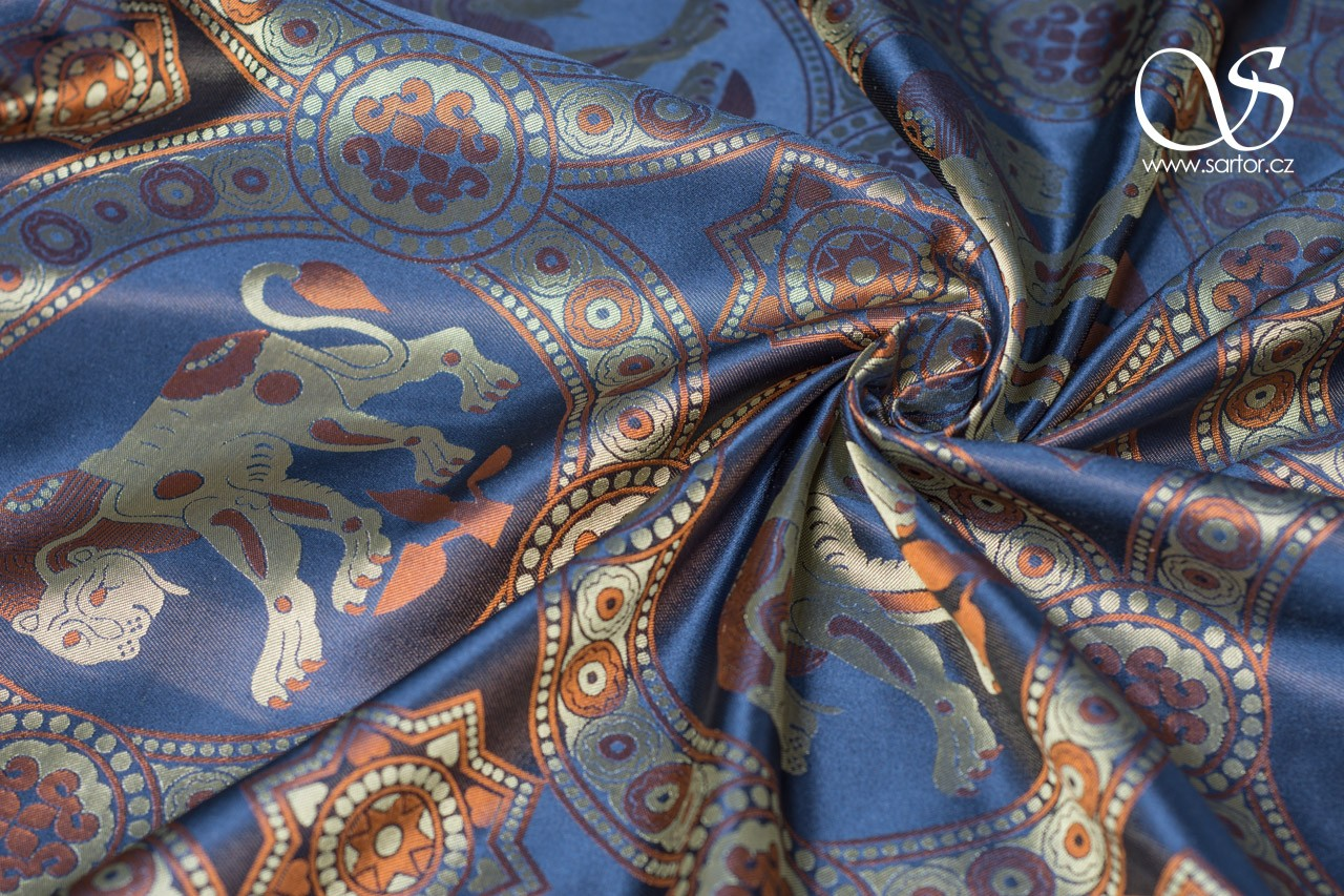 Damask with Lion of Saint Julian, Gold and Blue