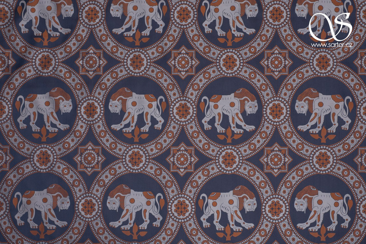 Damask with Lion of Saint Julian, Silver and Blue