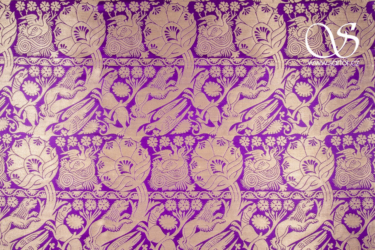 Gothic brocade with animal motifs, violet
