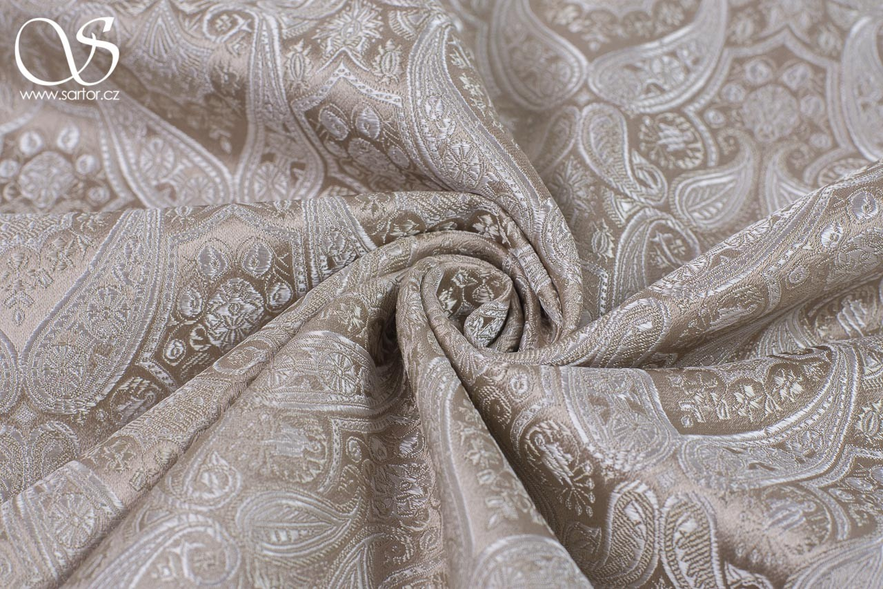 Brocade of the Duke, 150 cm, Beige and Powder Pink