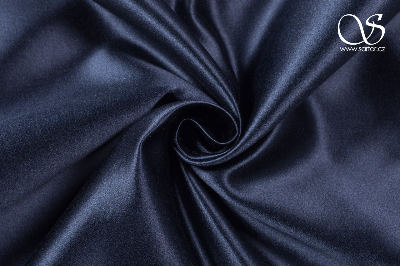 Silk blend duchesse, dark blue