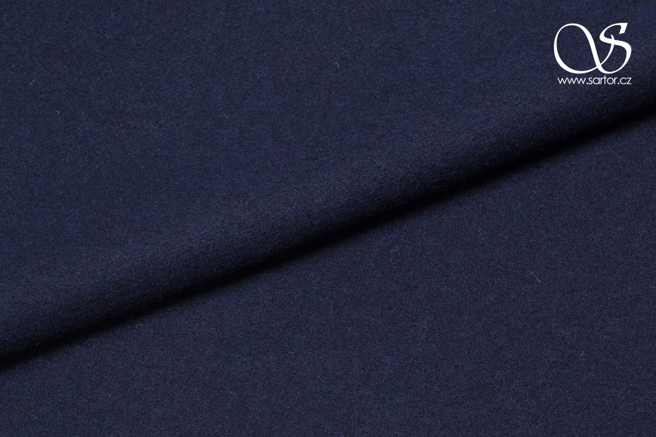 Brushed wool coating, blue-black