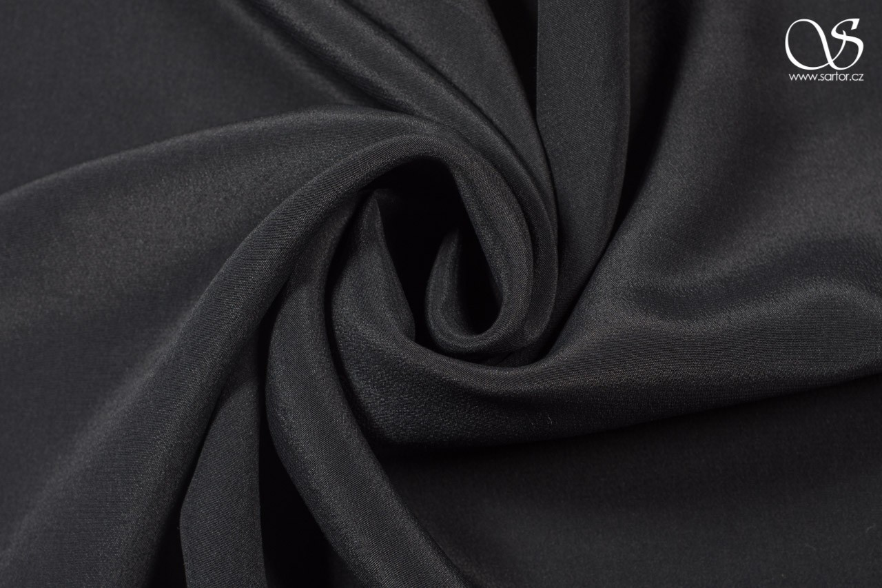 Crepe de chine, black, DEFECTS