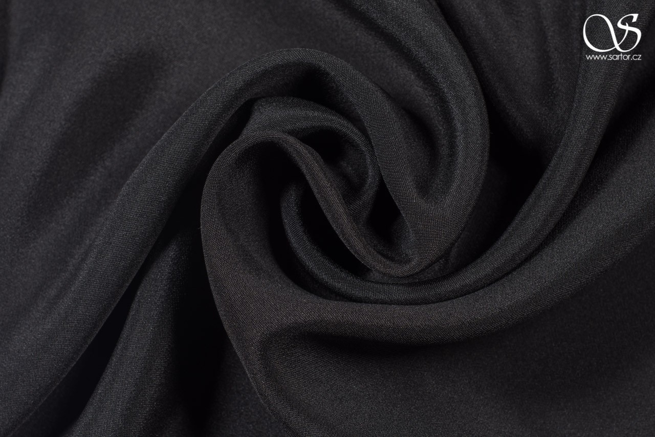 Crepe marocain, black, DEFECTS, 0,9m