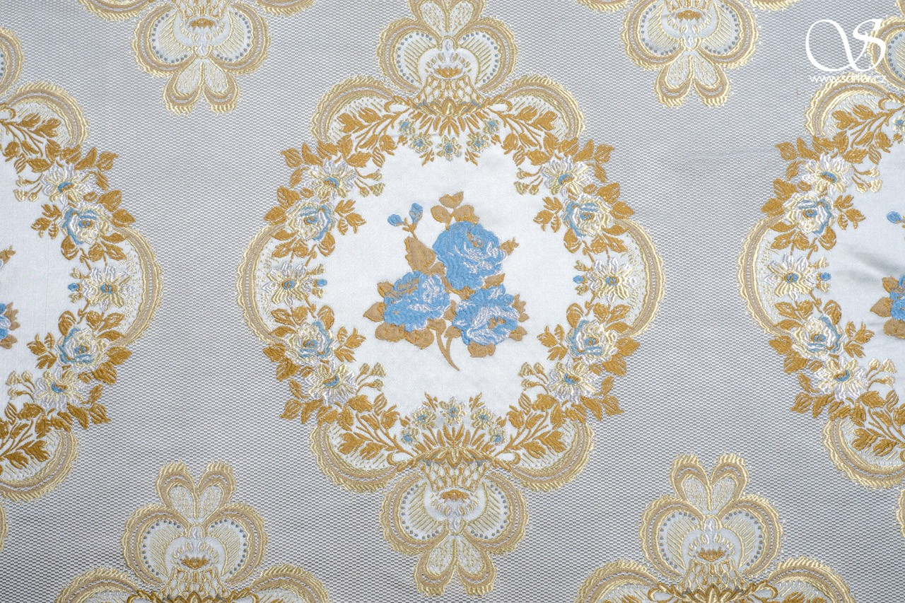 Brocade Antoinette, light blue and gold