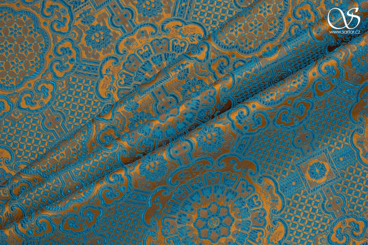 Brocade Ming, orange and turquoise
