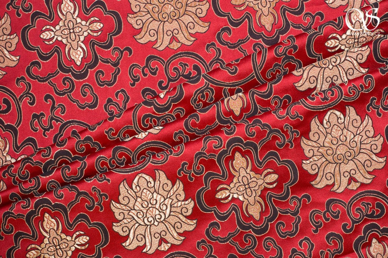 Brocade Water Lily, red and gold