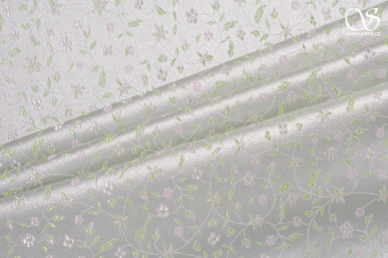 Brocade Flowers, light green