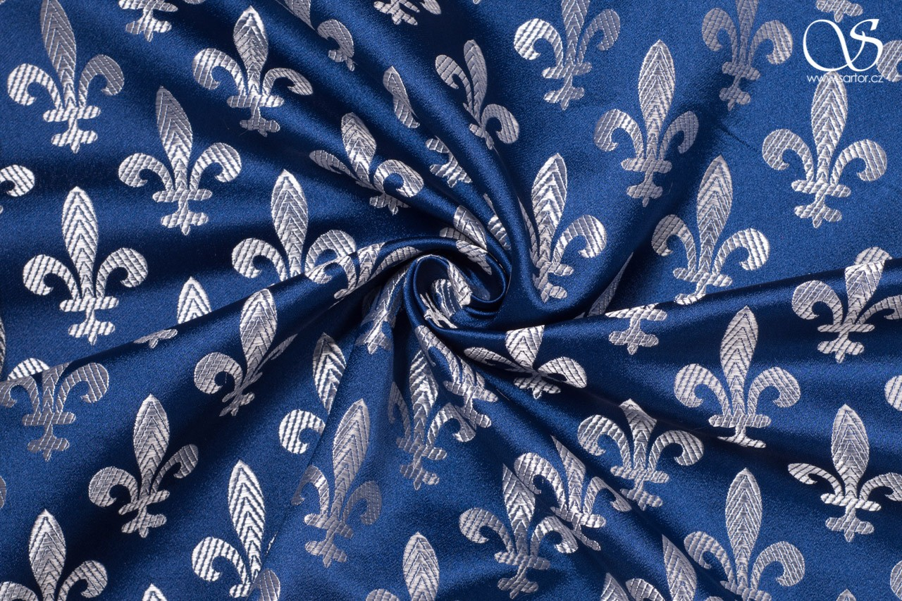 Brocade Fleur de Lis, blue and silver