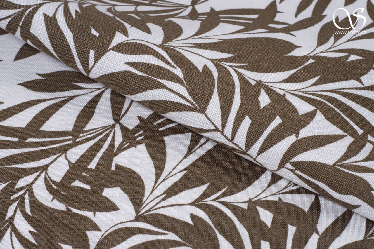 Fine linen with leaves, brown and white