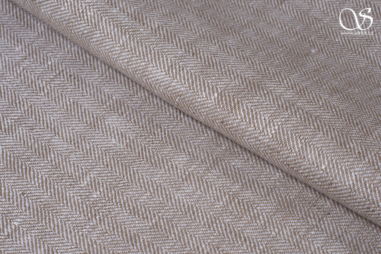 Herringbone linen, light brown and white