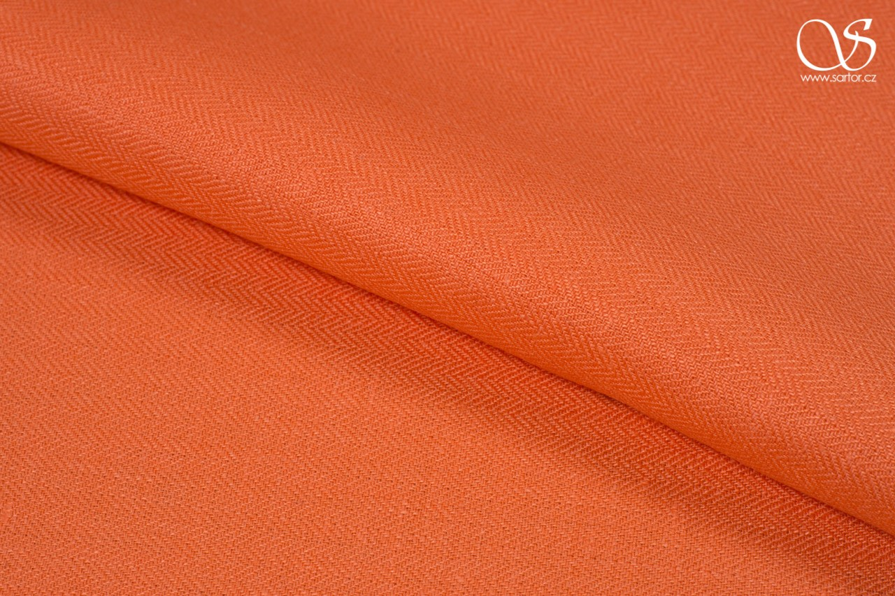 Herringbone linen, light orange