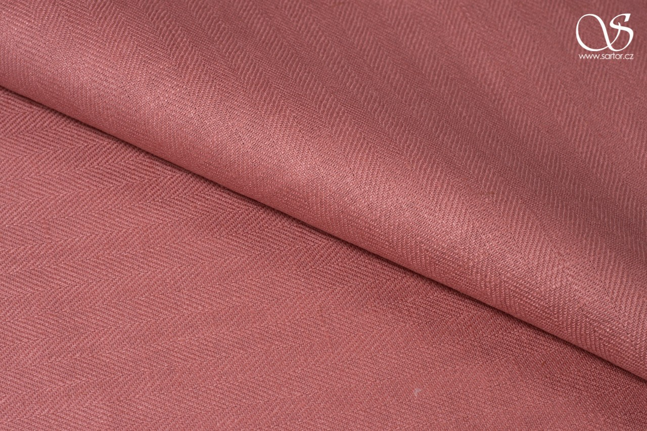 Herringbone linen, antique pink