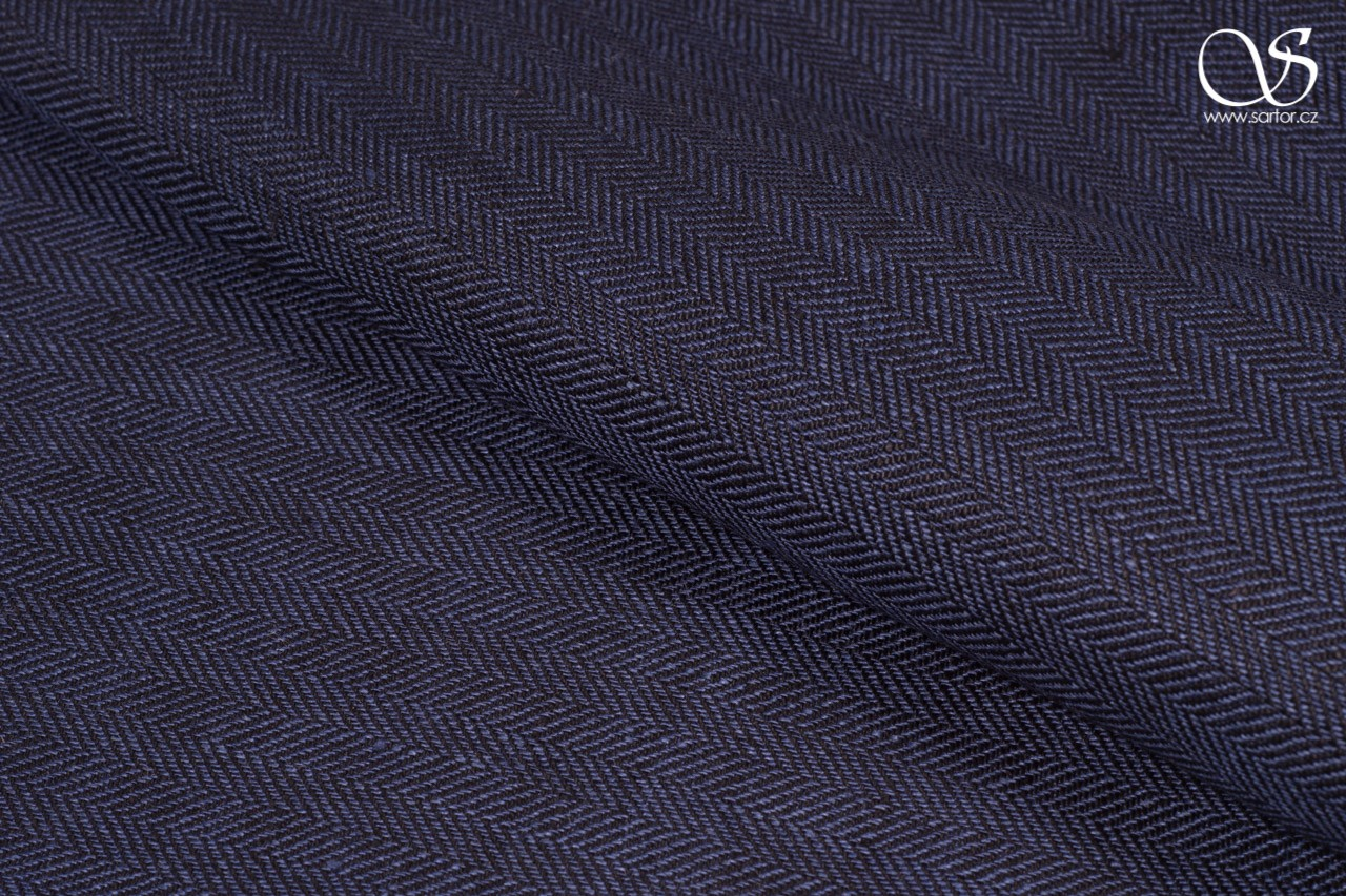 Herringbone linen, black and blue