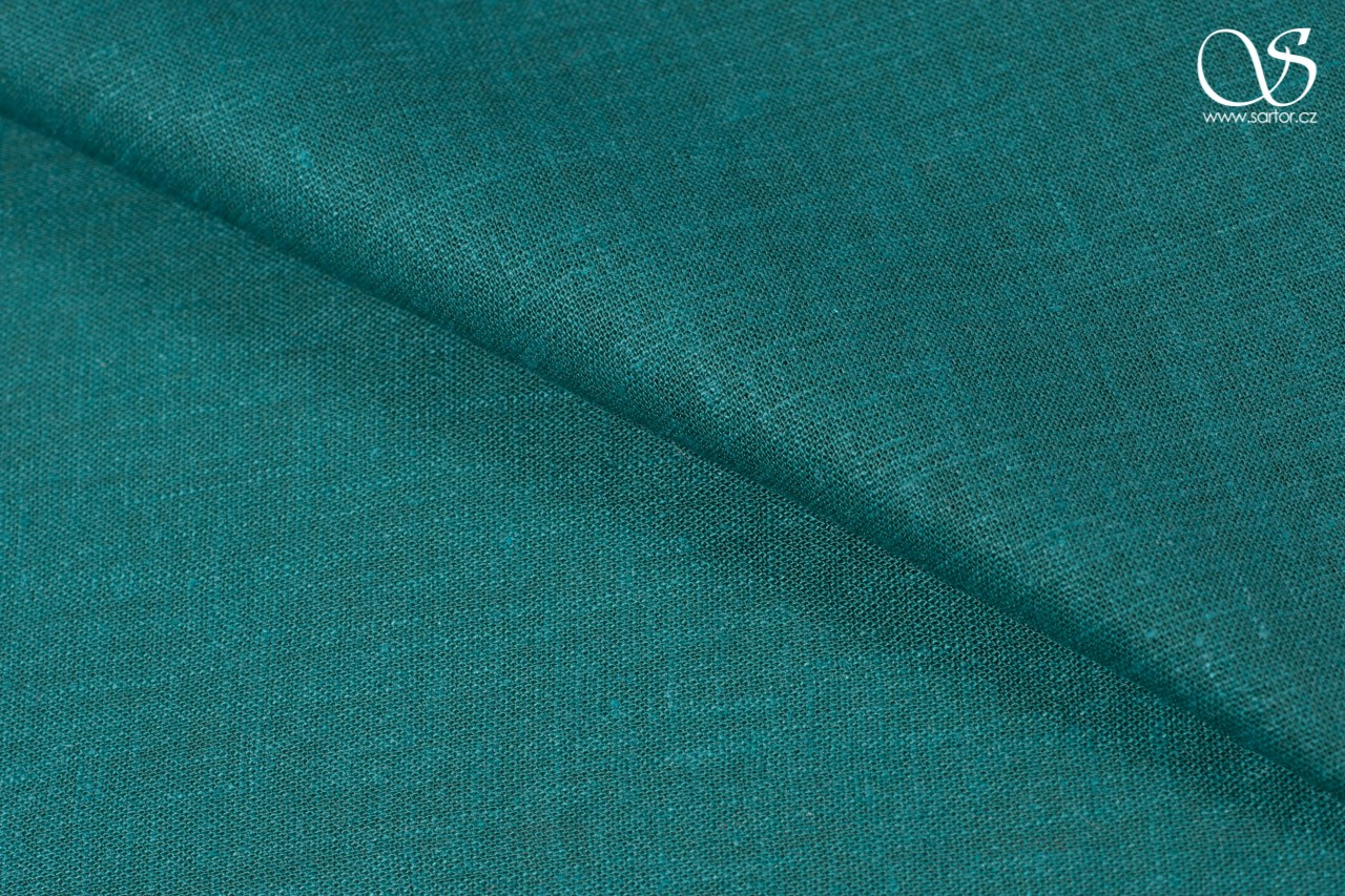Fine linen with cotton, peacock green