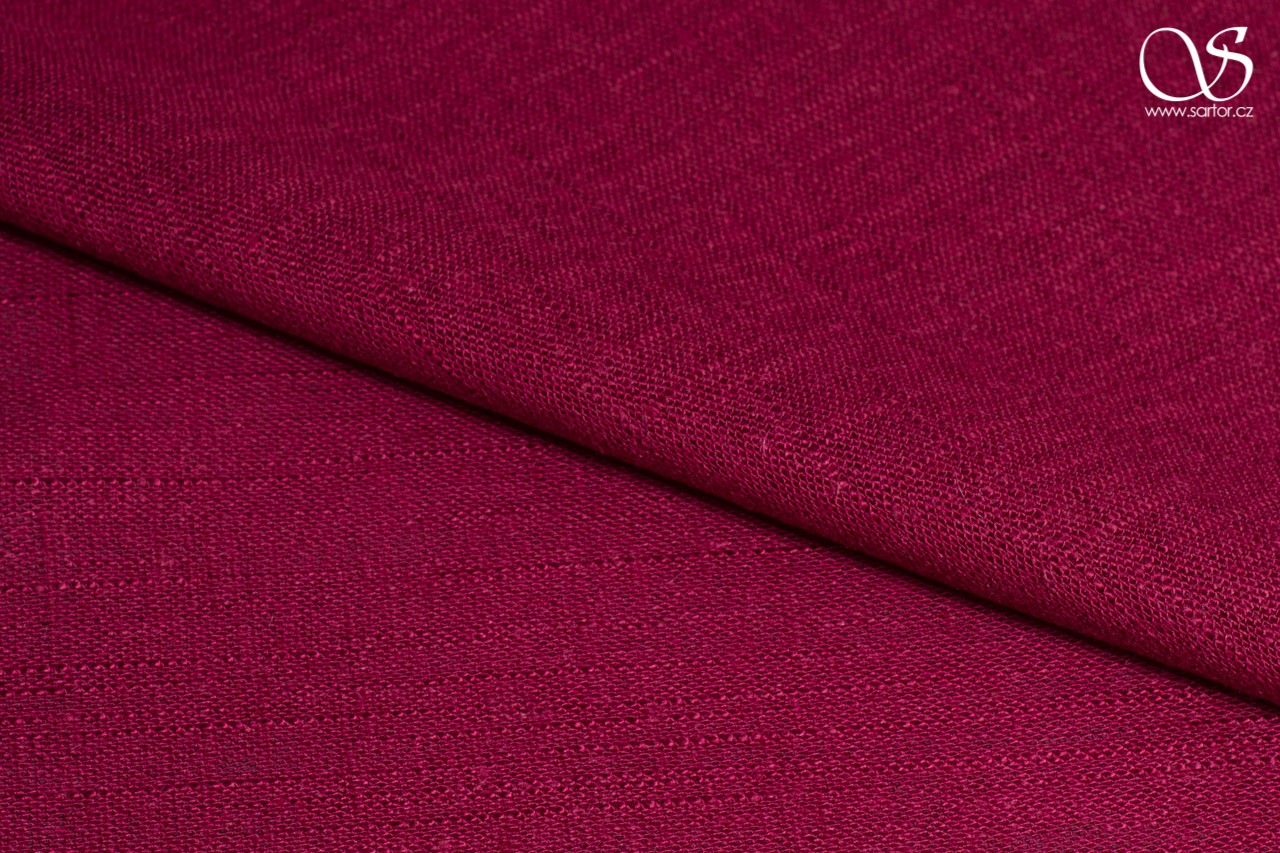 Fine linen with cotton, wine red, DEFECTS