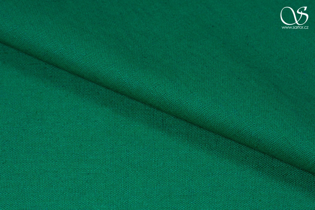 Linen with cotton, emerald green