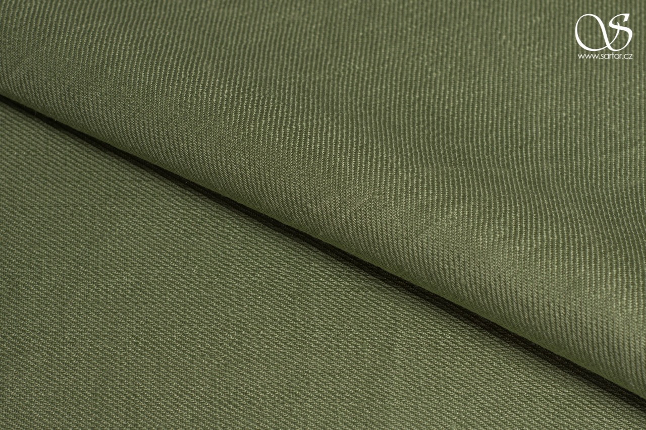 Twill linen, olive green