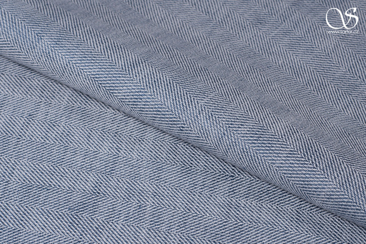 Fine herringbone linen with cotton, blue and white
