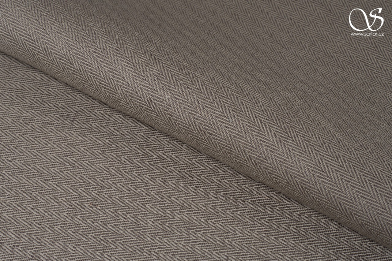 Herringbone linen with cotton, beige and brown