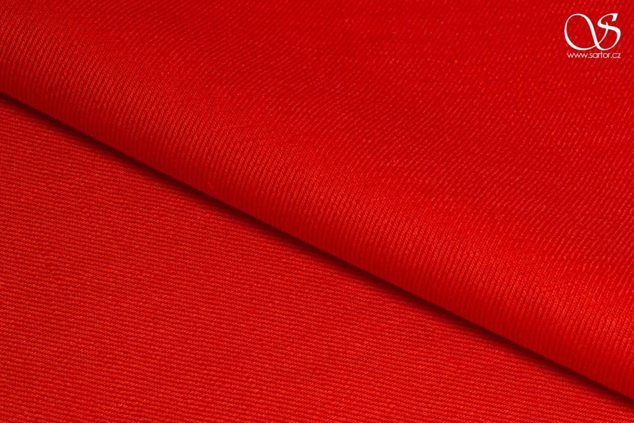 Twill linen with cotton, red