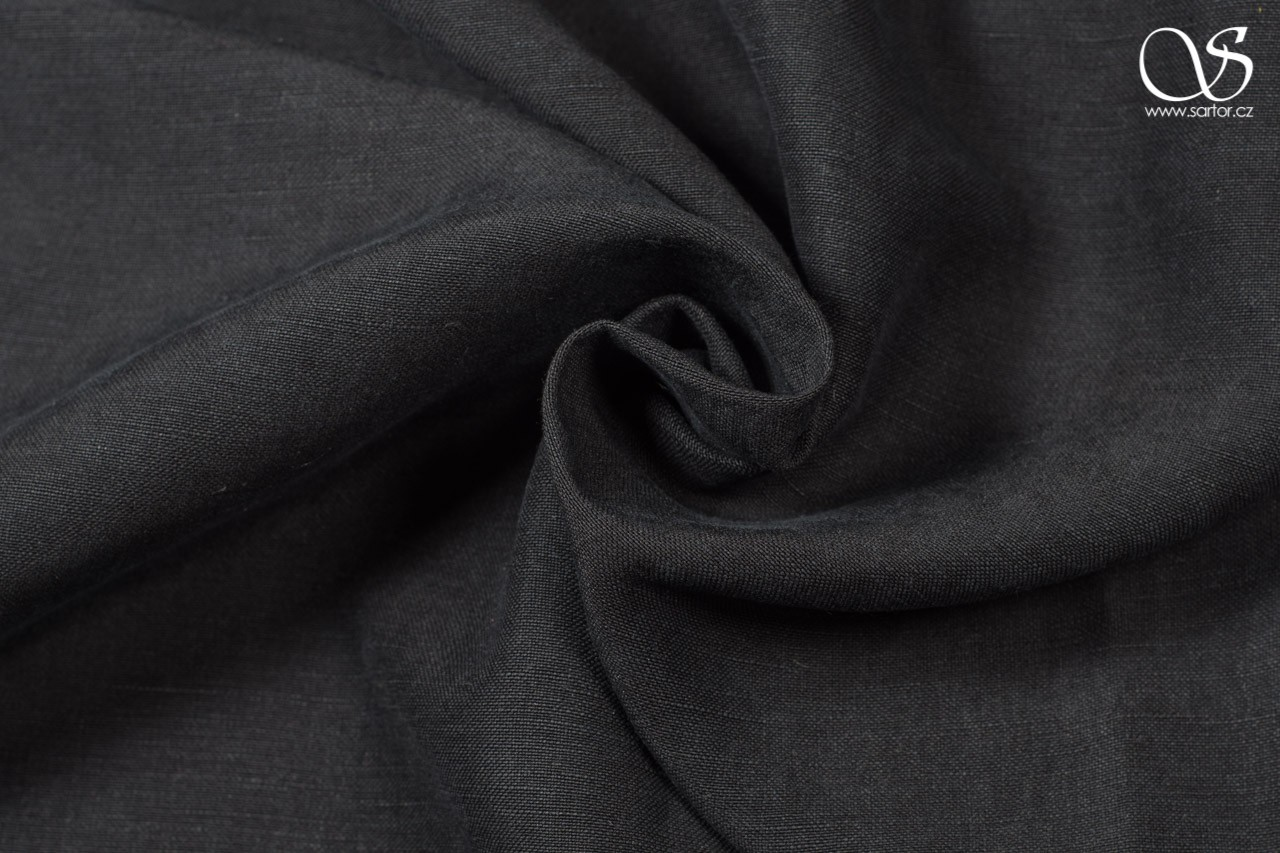 Linen with silk, black