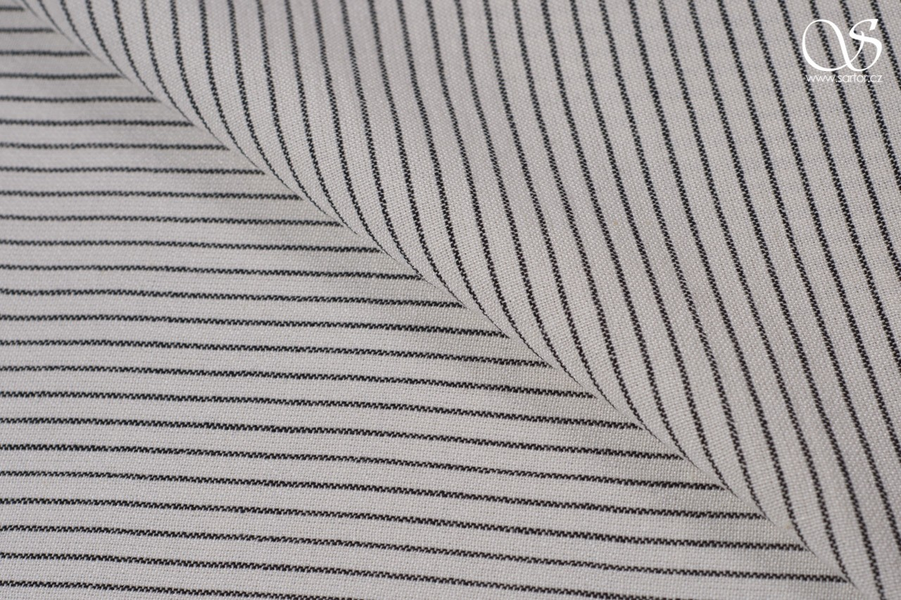 Striped linen blend, cream and black