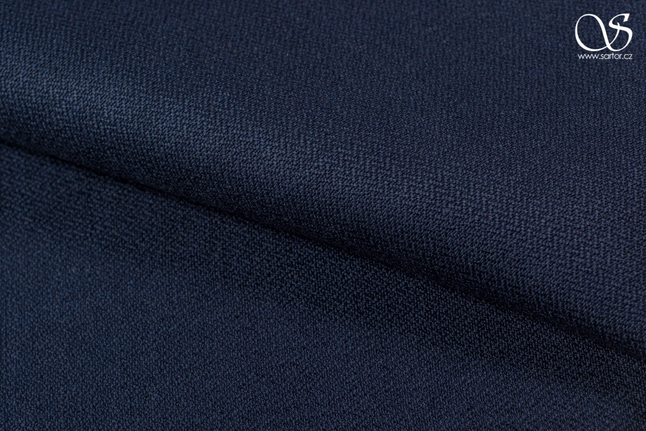Herringbone linen with rayon, dark blue