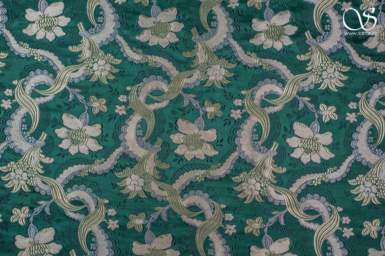 "Baroque ""bizarre silks"" brocade, green"