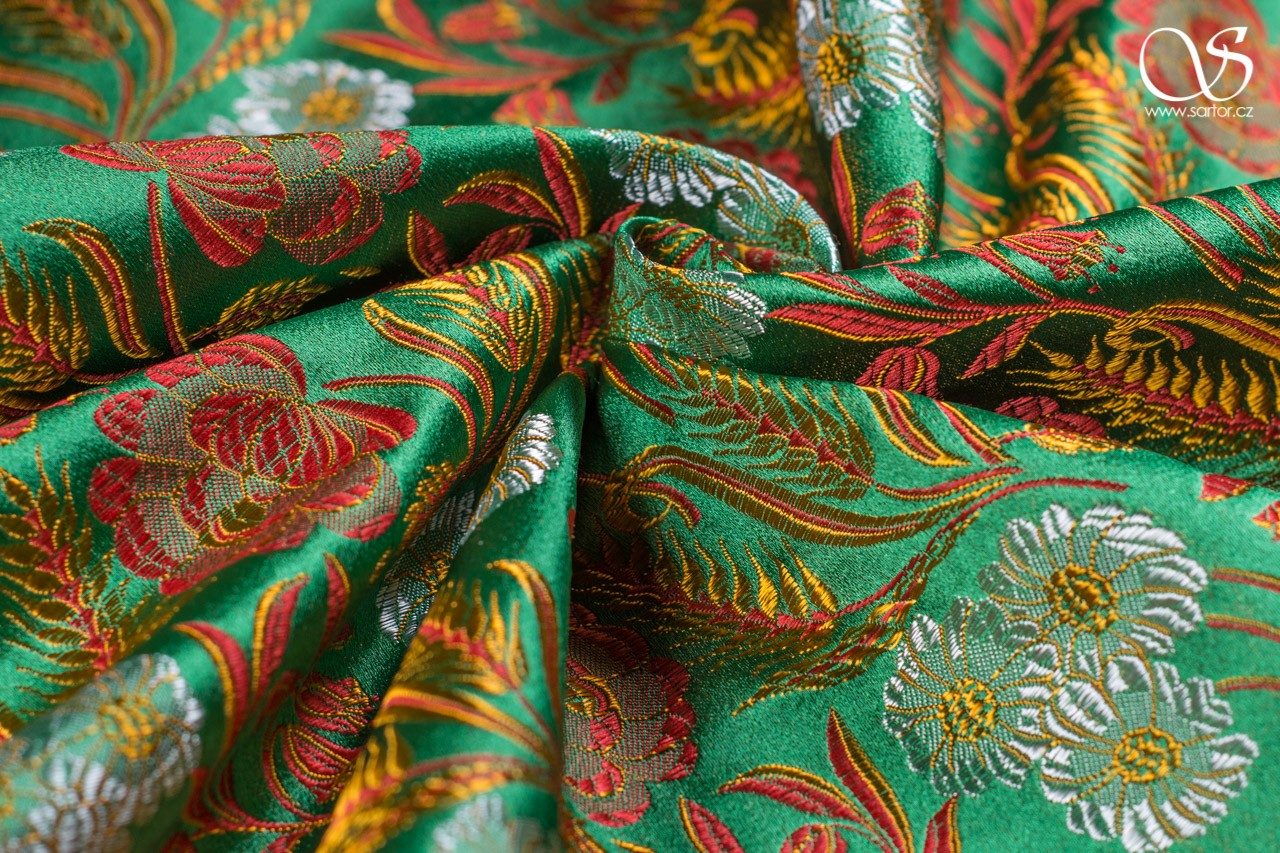 Bohemian brocade, flowers and wheat